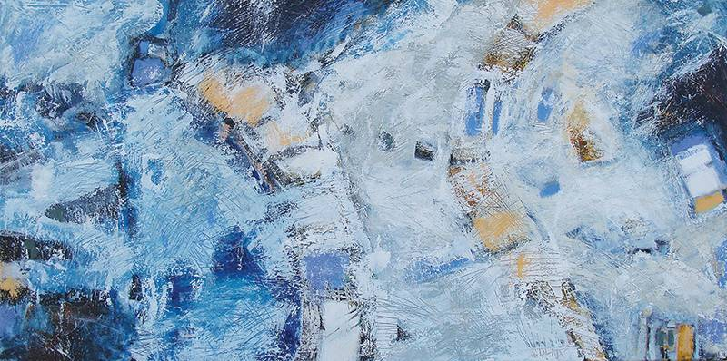 "Salt Water Ice 48"" x 24""   (acrylic on canvas) - © Lisa Creed 2014"